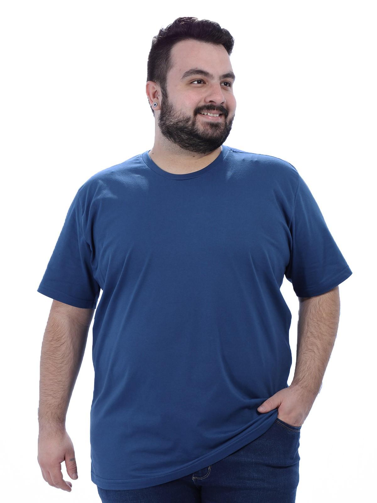 Camiseta Plus Size Masculino Lisa Azul Jeans