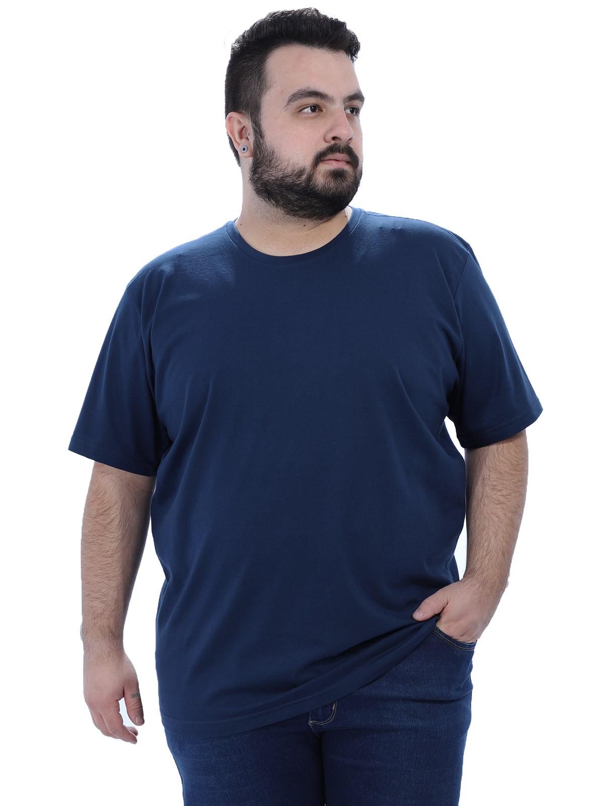Camiseta Plus Size Masculino Lisa Azul Marinho