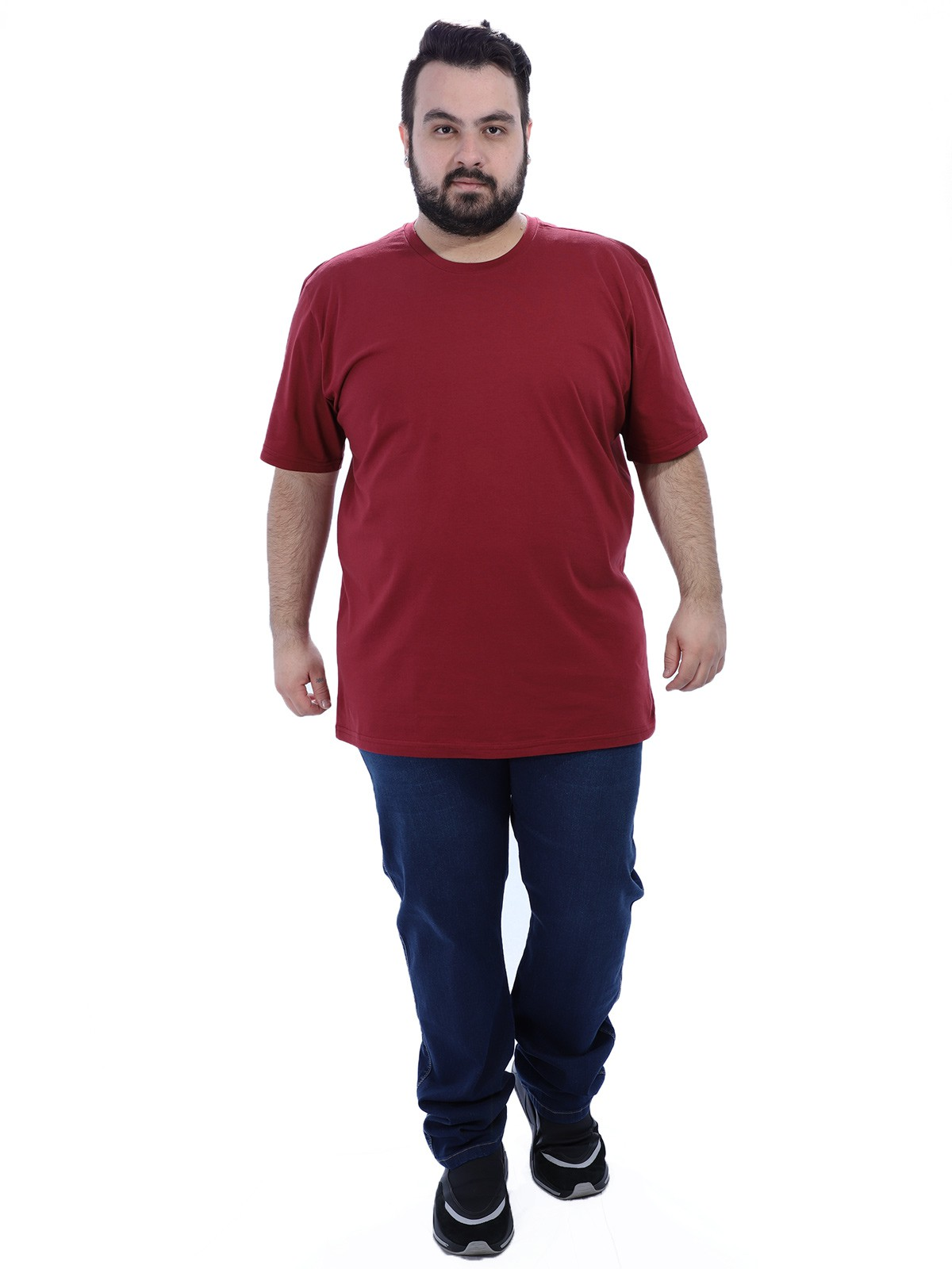 Camiseta Plus Size Masculino Lisa Bordo