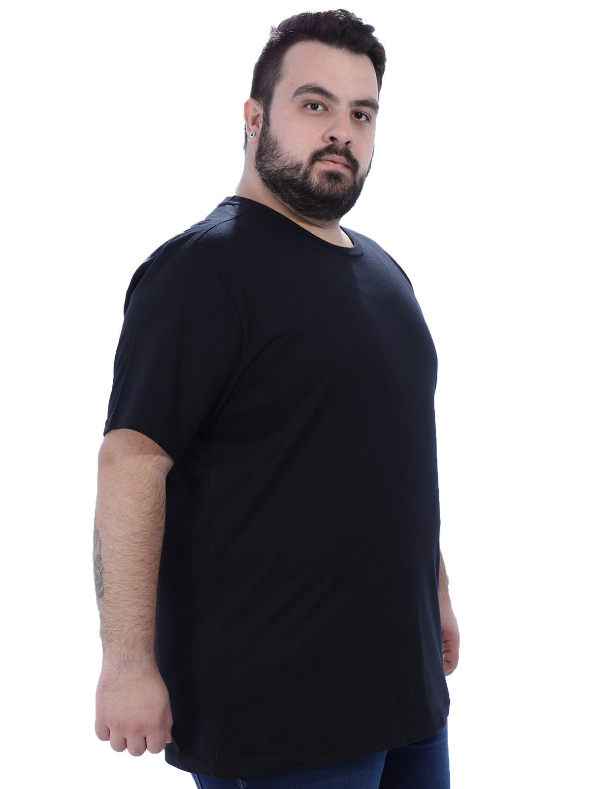 Camiseta Plus Size Masculino Lisa Preta