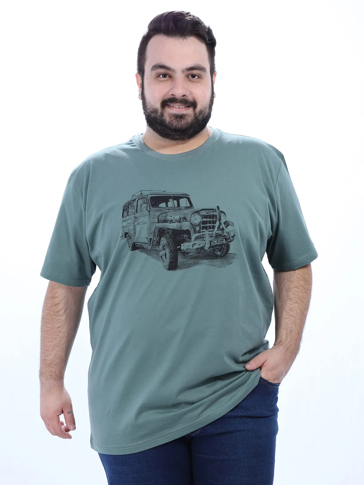 Camiseta Plus Size Masculino Manga Curta Estampa Jeep Concreto