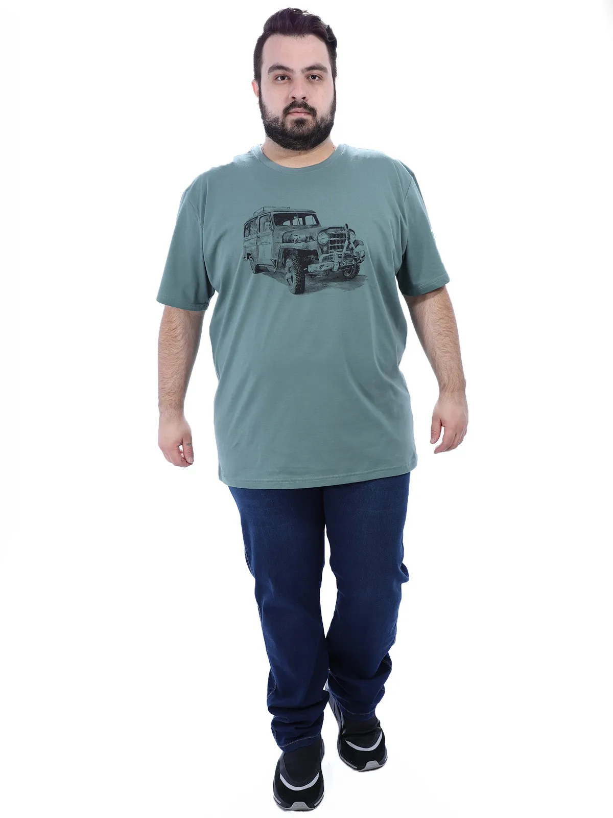 Camiseta Plus Size Masculino Manga Curta Estampa Jeep Concreto