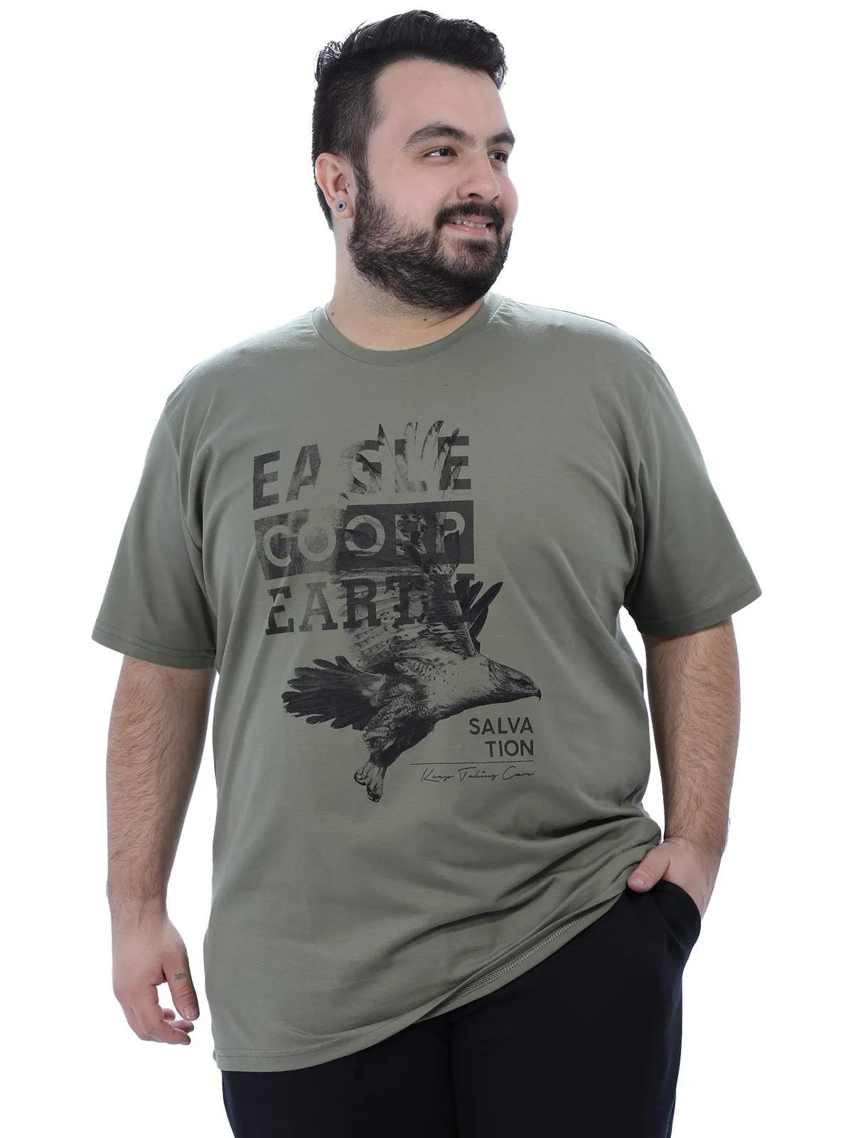 Camiseta Plus Size Masculino Manga Curta Estampada Bambú