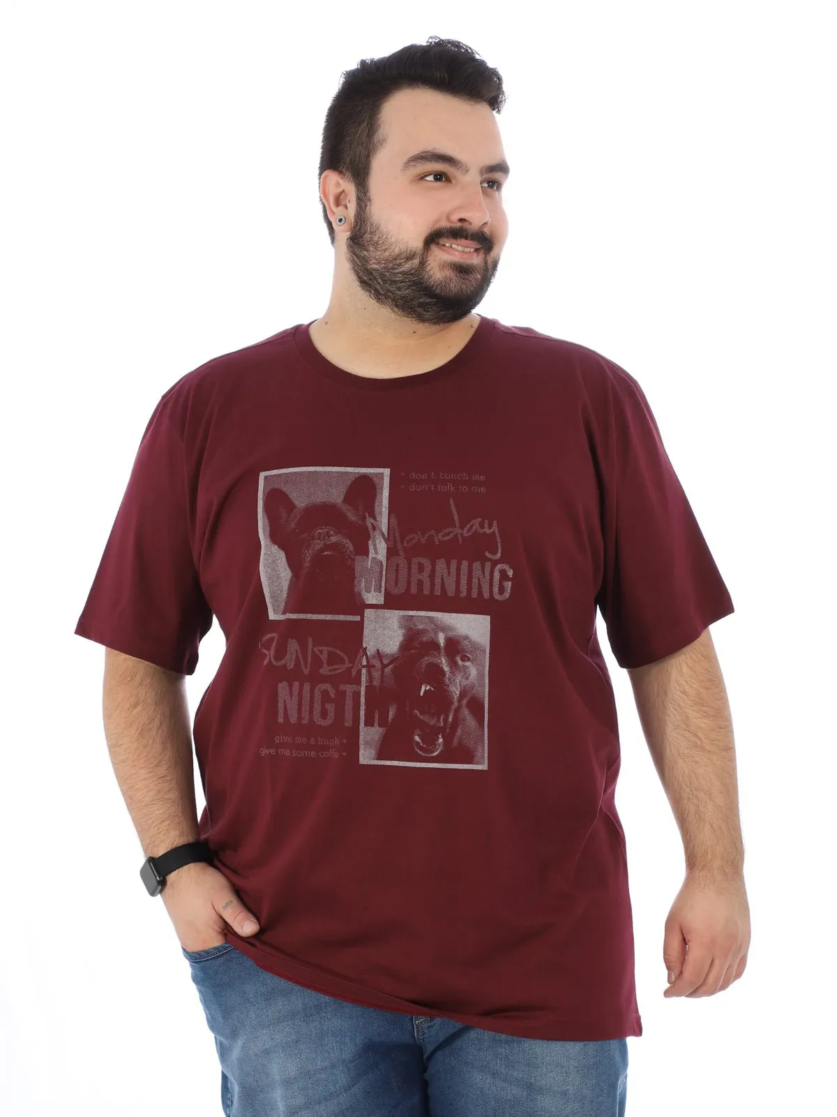 Camiseta Plus Size Masculino Manga Curta Estampada Bordo