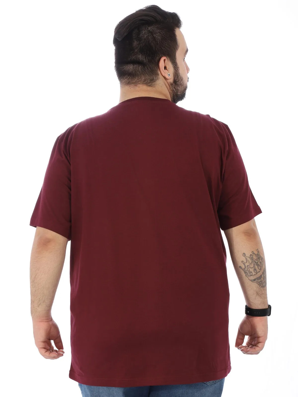 Camiseta Plus Size Masculino Manga Curta Estampada Bordo