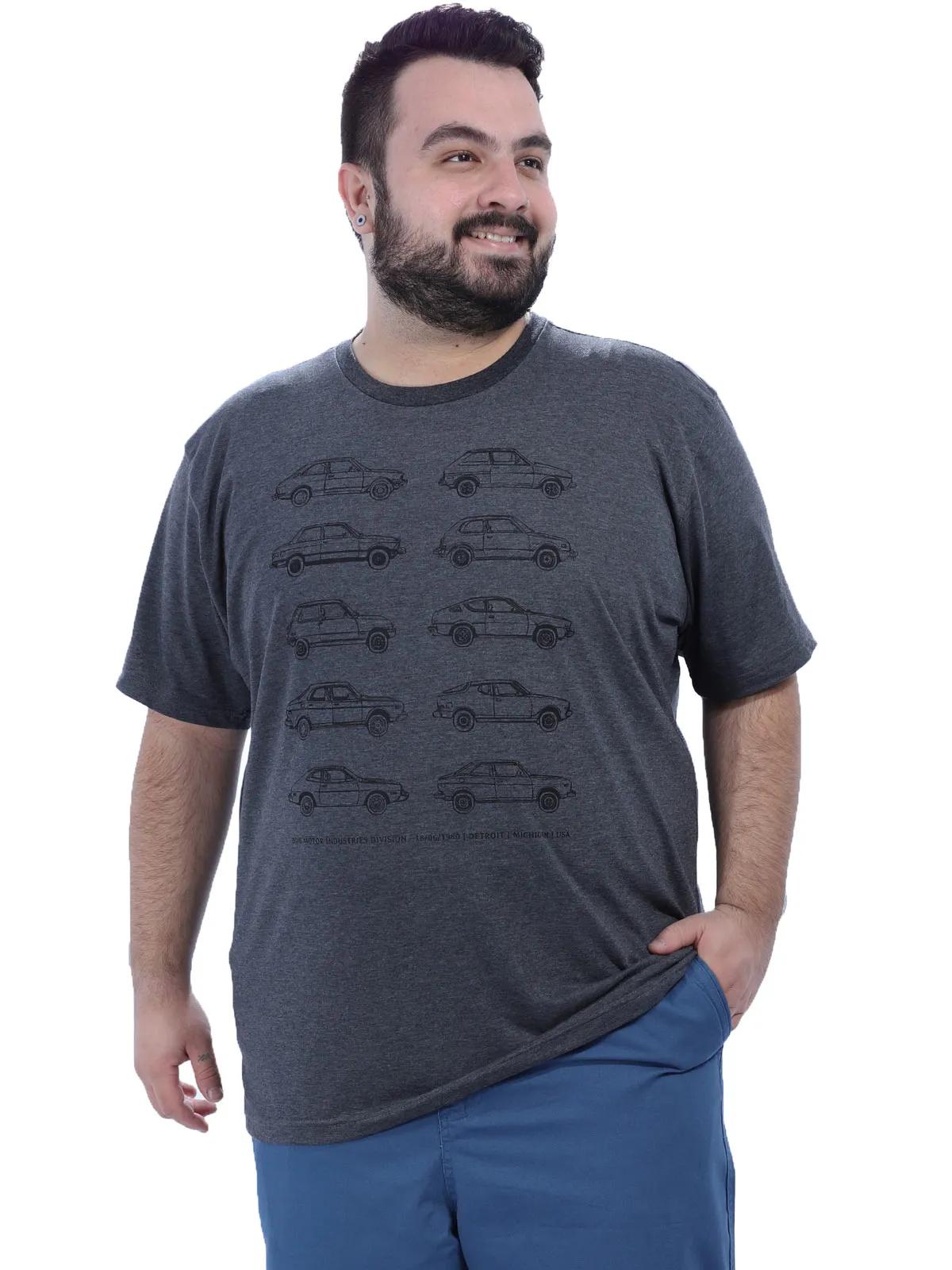 Camiseta Plus Size Masculino Manga Curta Estampada Mescla