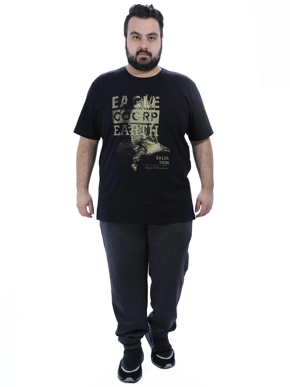 Camiseta Plus Size Masculino Manga Curta Estampada Preta