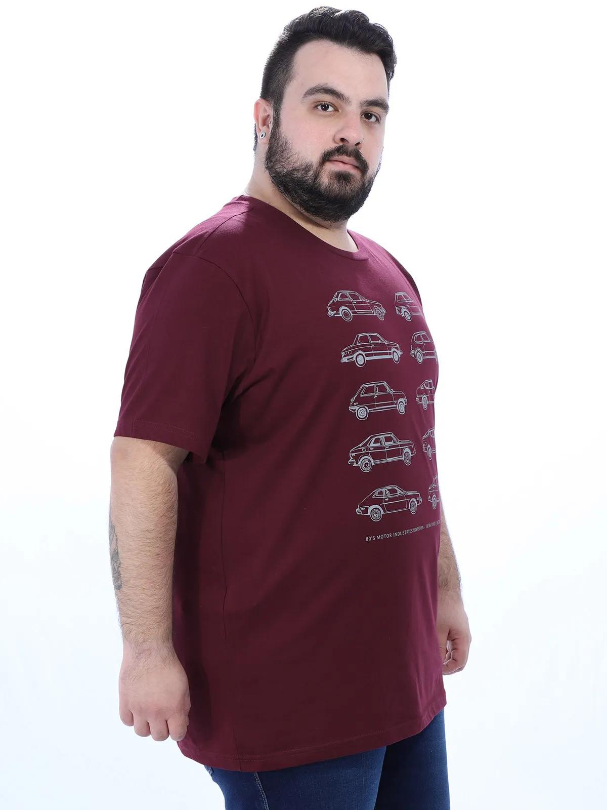 Camiseta Plus Size Masculino Manga Curta Estampada Vinho