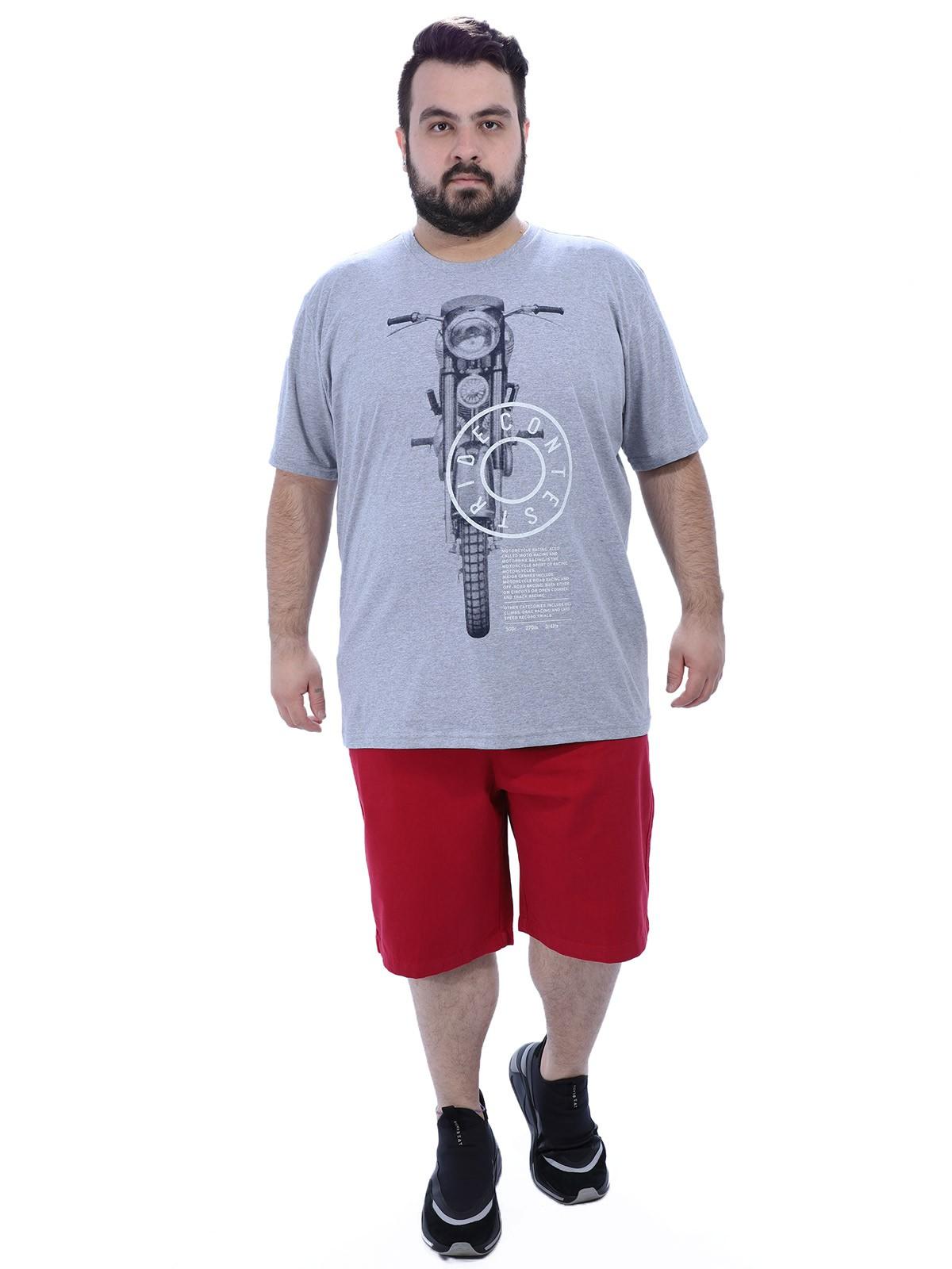 Camiseta Plus Size Masculino Moto Anistia Mescla