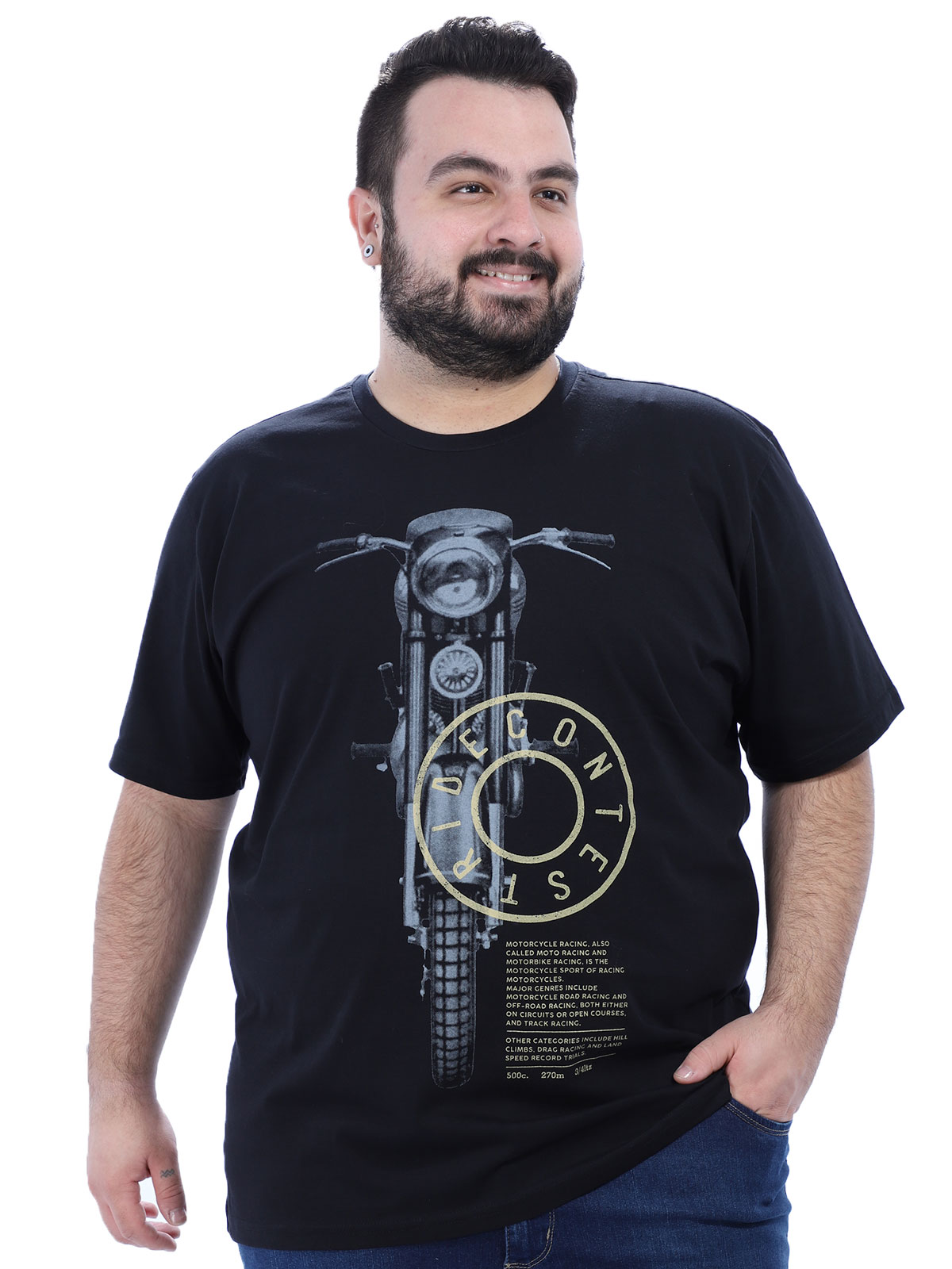 Camiseta Plus Size Masculino Moto Anistia Preta