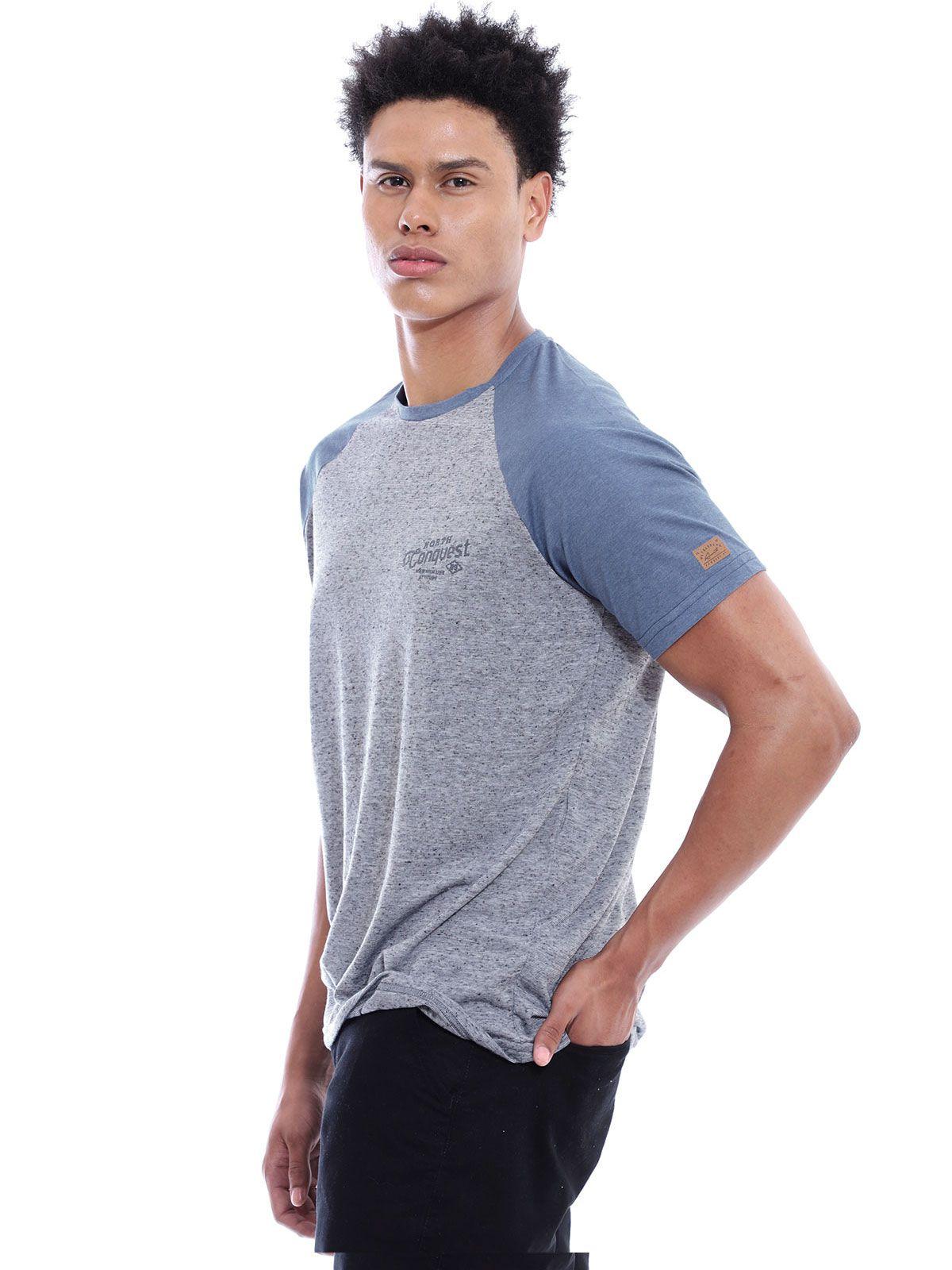 Camiseta Masculina Manga Ragla Gola Careca Botone Cinza