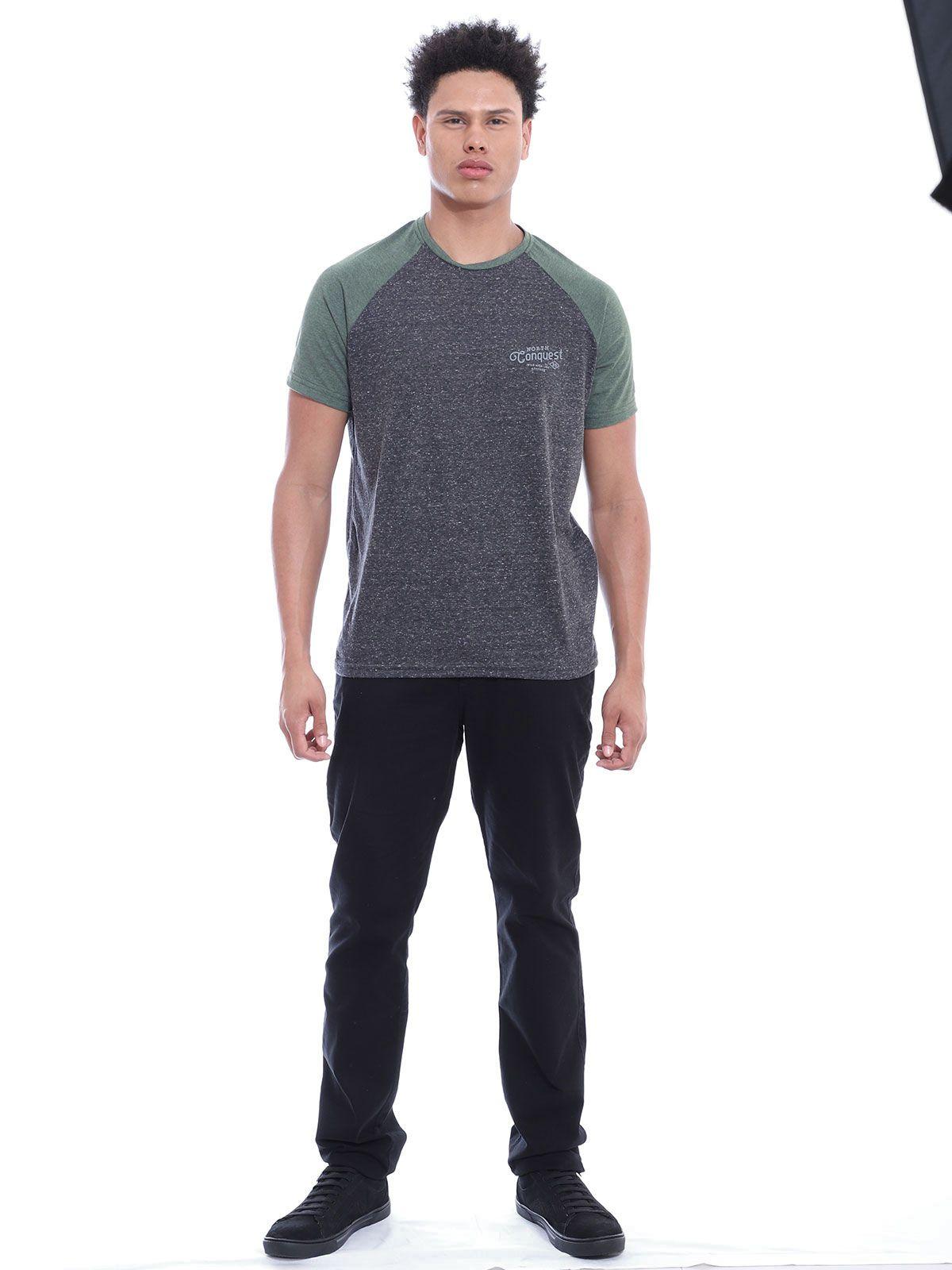 Camiseta Masculina Manga Ragla Gola Careca Botone Preto