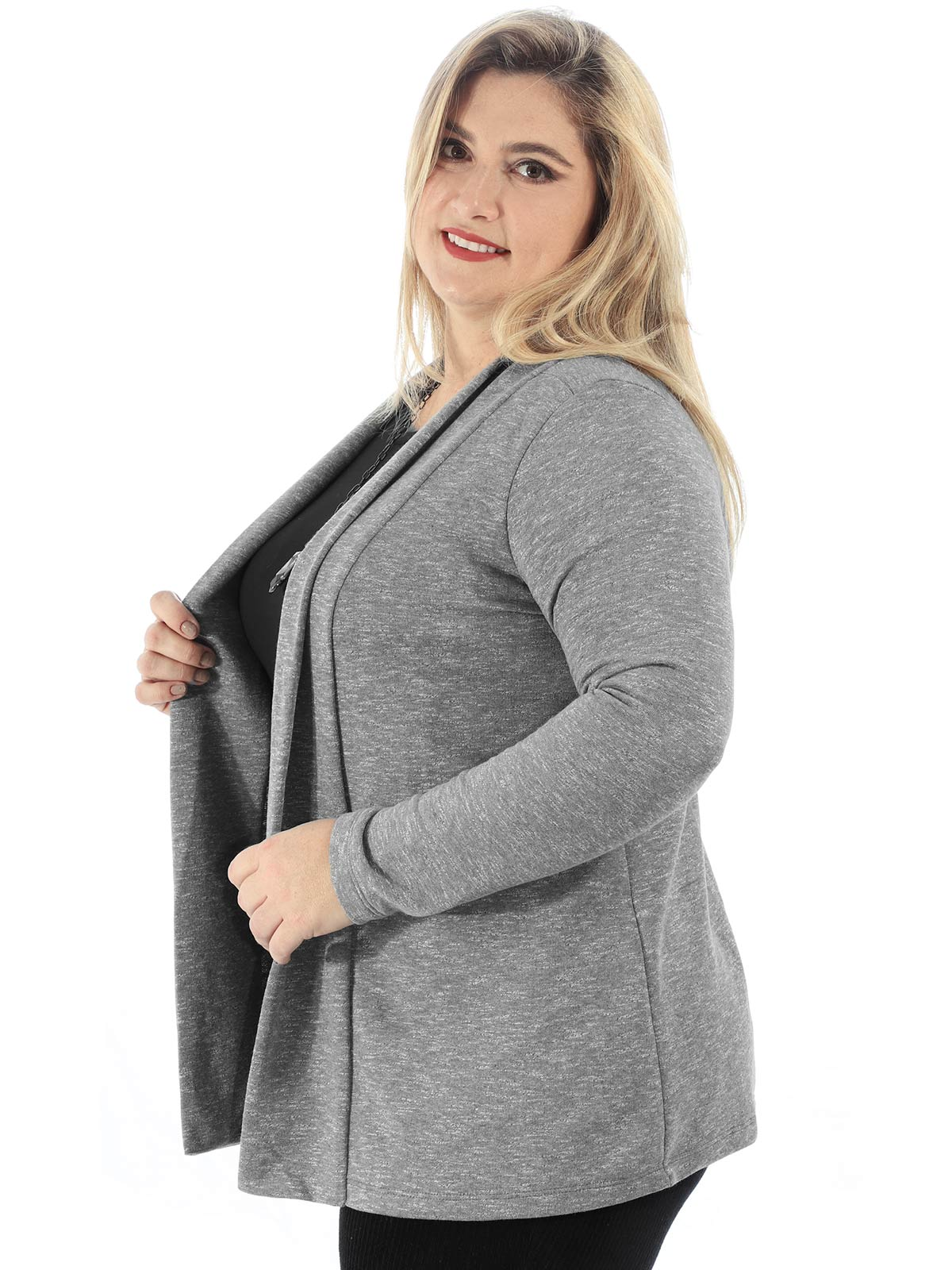 Cardigan Feminino Plus Size De Moletom Anistia Mescla
