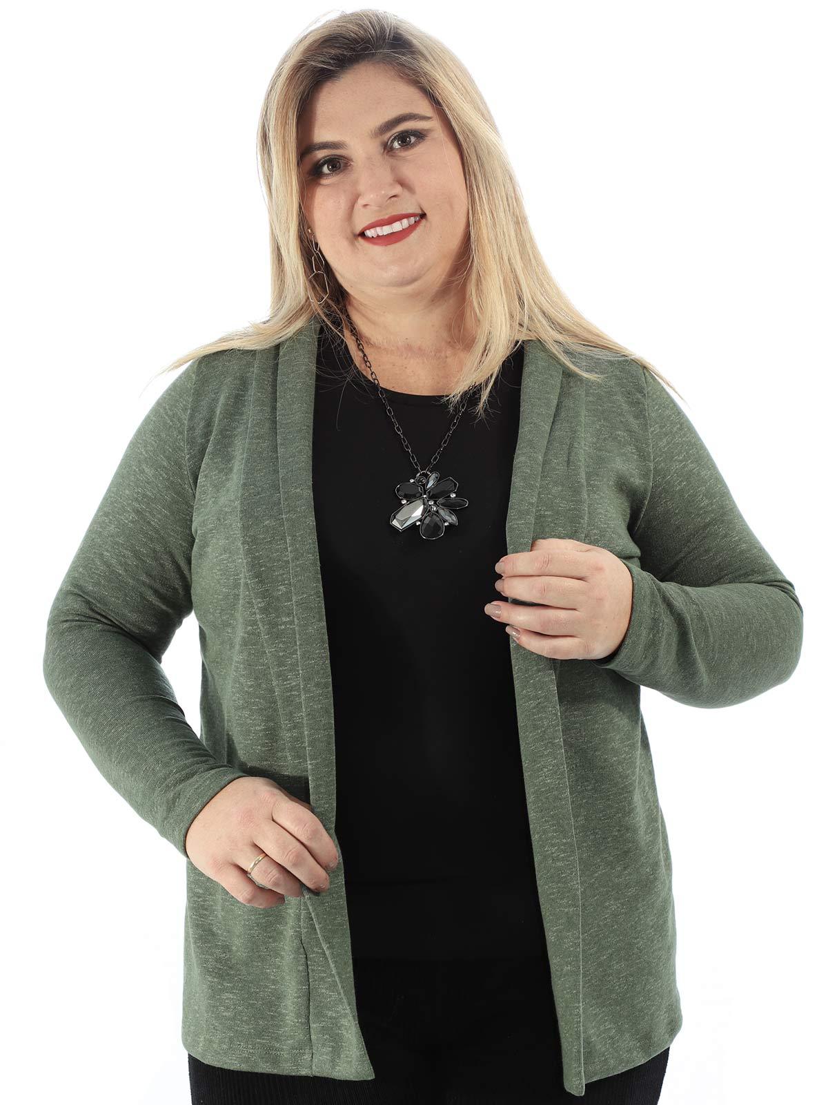 Cardigan Feminino Plus Size De Moletom Anistia Verde