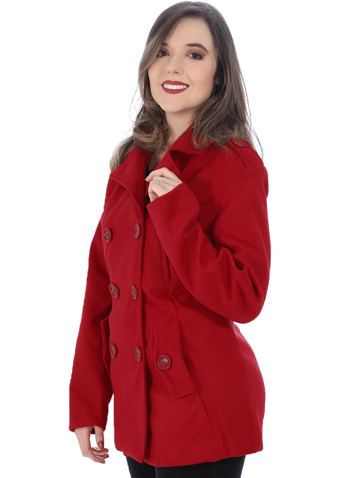 Casaco Feminino de Lã Batida Com Bolso e Botões Vermelho
