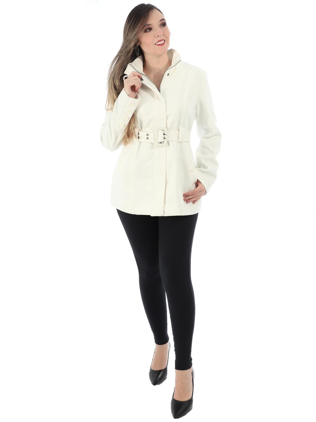 Casaco Feminino de Lã Com Cinto e Bolso Anistia Branco