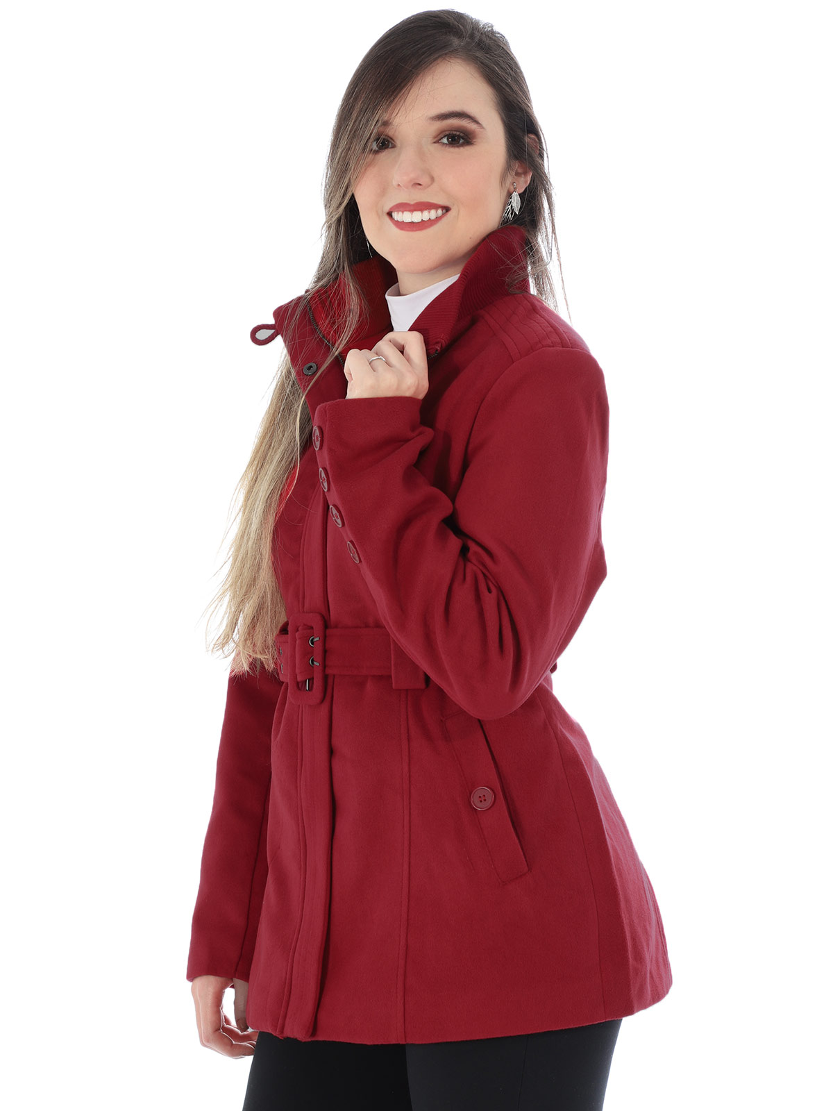 Casaco Feminino de Lã Com Cinto e Bolso Anistia Vermelho