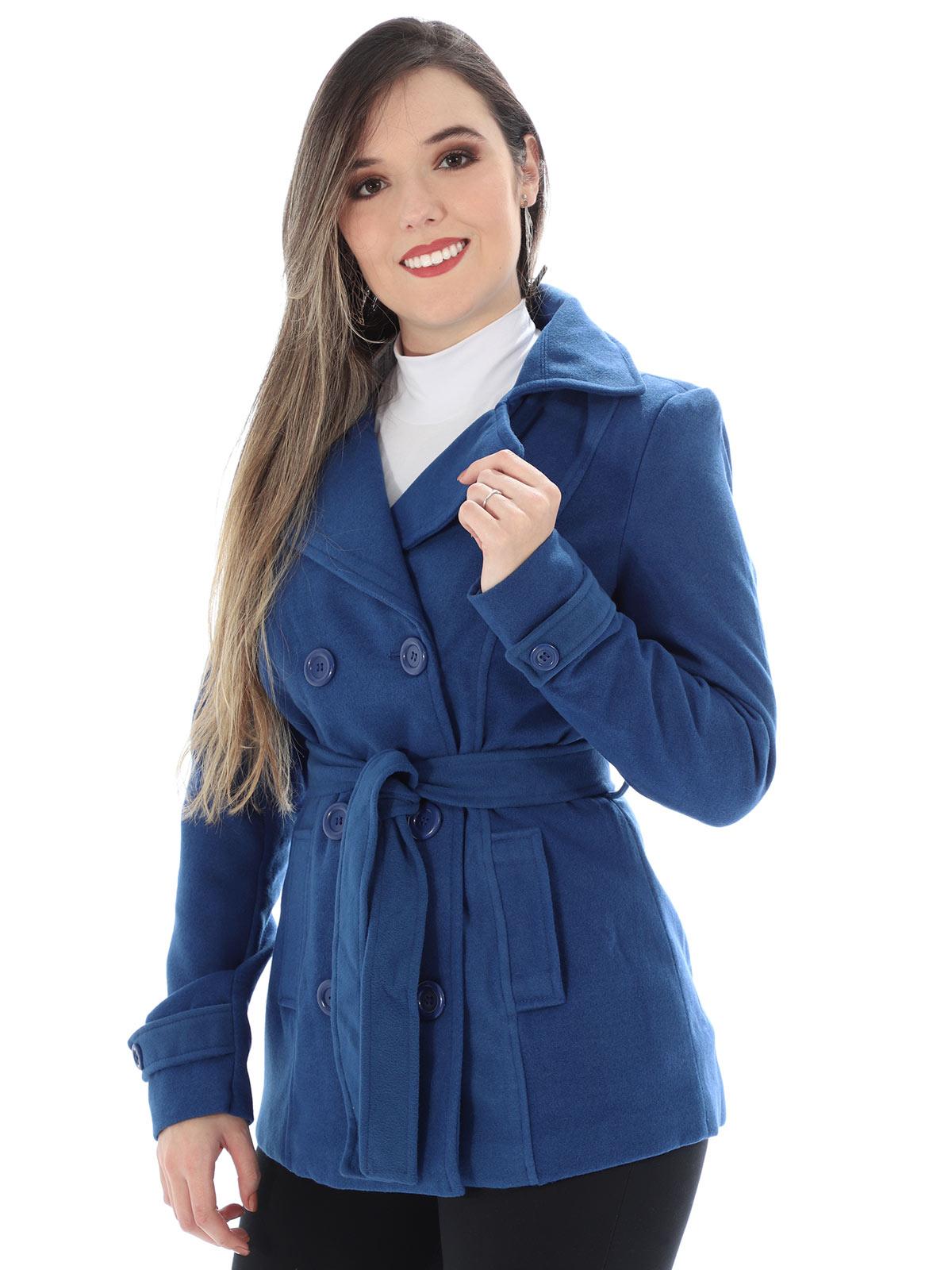 Casaco Feminino de Lã Forrado Com Cinto Anistia Azul Bic