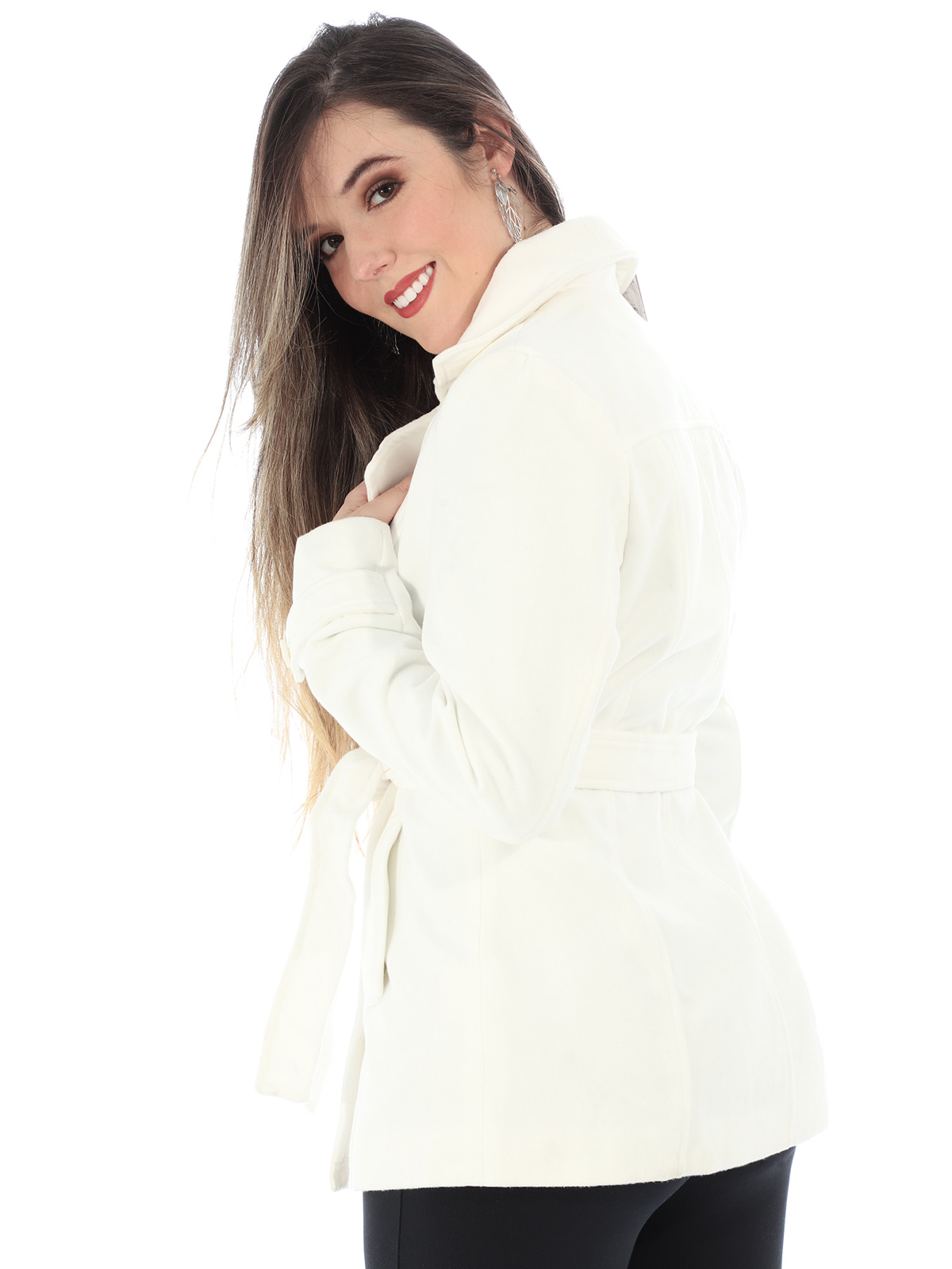 Casaco Feminino de Lã Forrado Com Cinto Anistia Branco