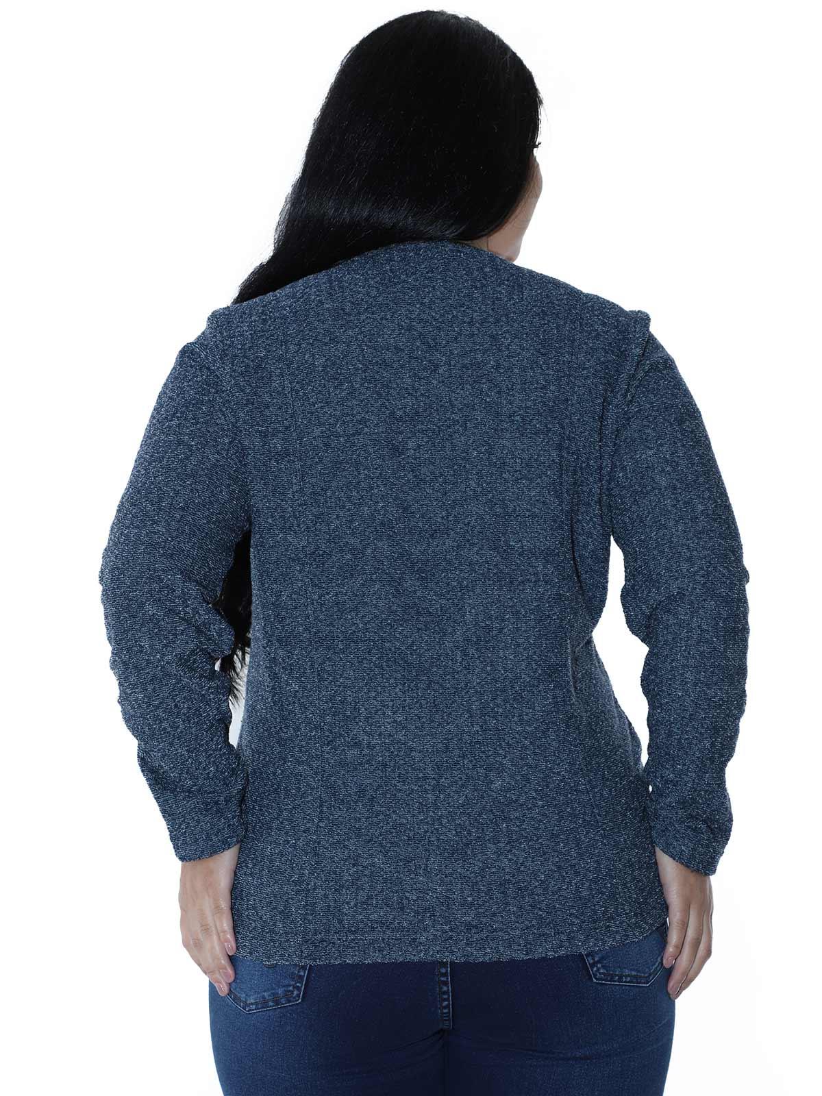 Casaco Plus Size Aberto Malha Tweed Azul Marinho