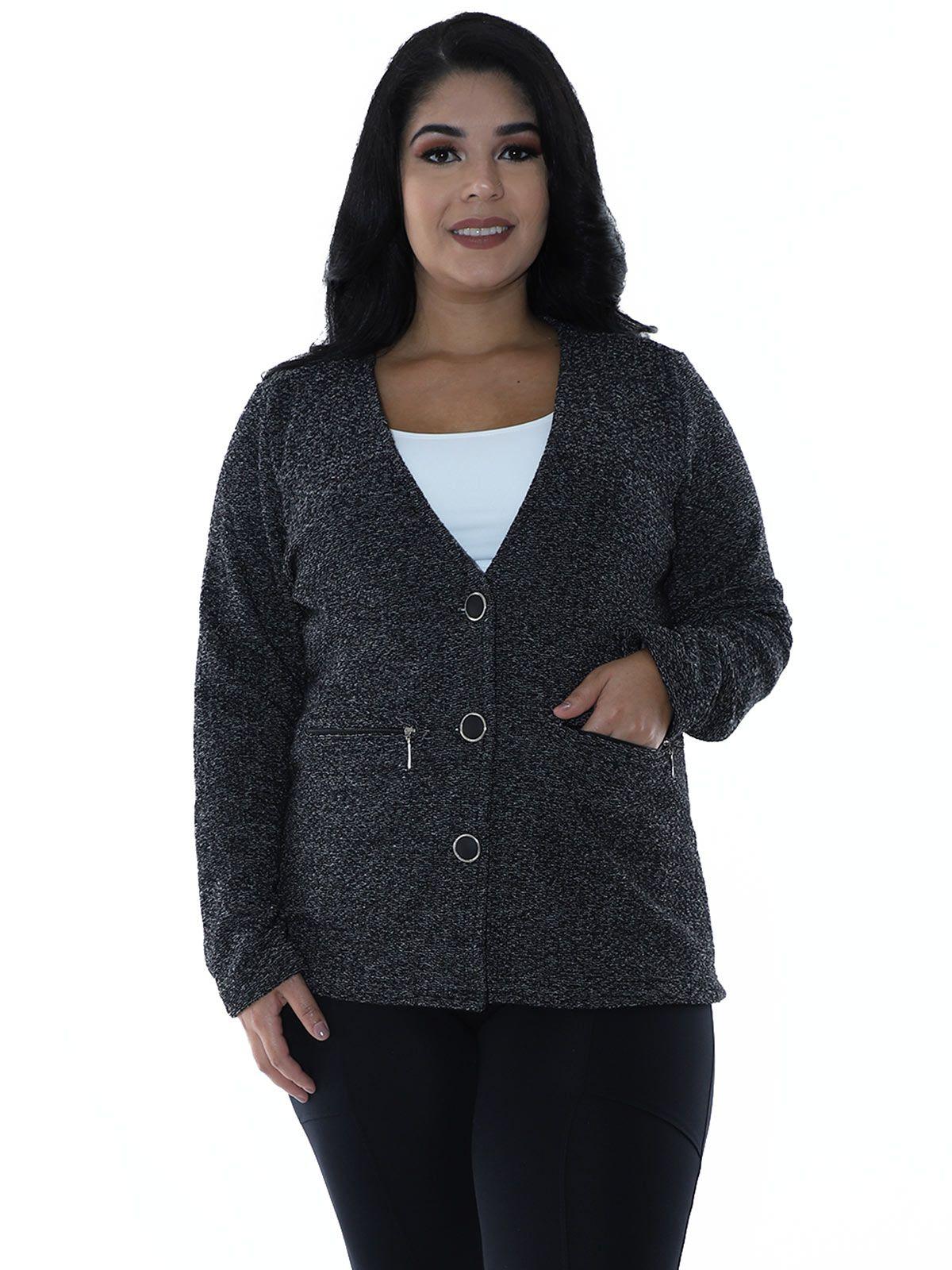 Casaco Plus Size Aberto Malha Tweed Preto