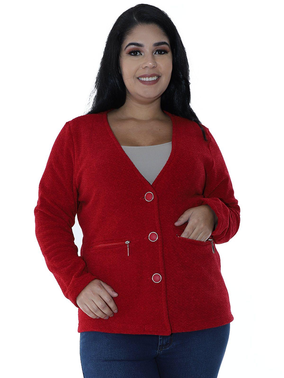 Casaco Plus Size Aberto Malha Tweed Vermelho