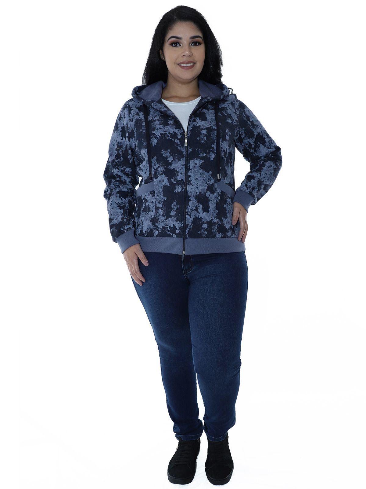 Casaco Plus Size de Moletom Camuflado com Capuz Azul Marinho