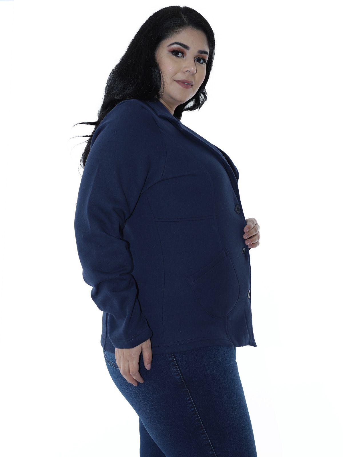 Casaco Plus Size de Moletom com Recortes Azul Marinho