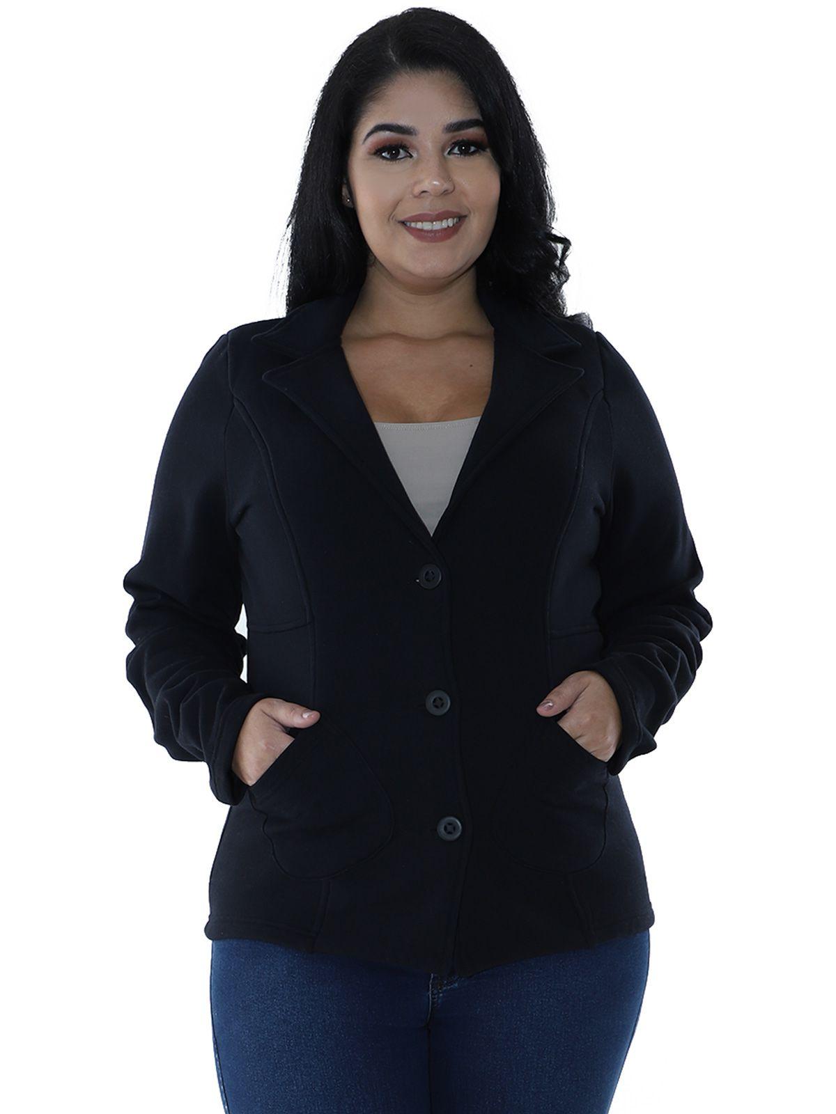 Casaco Plus Size de Moletom com Recortes Preto