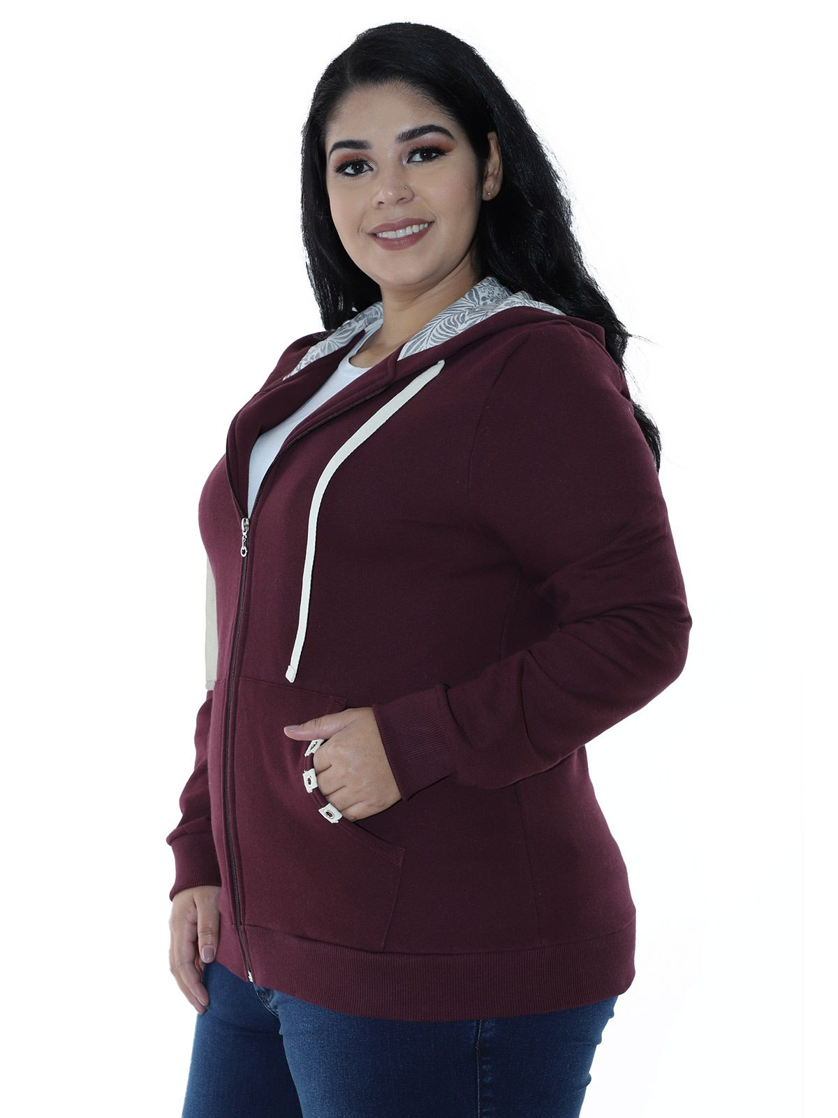 Casaco Plus Size de Moletom Forro do Capuz Estampado Bordo