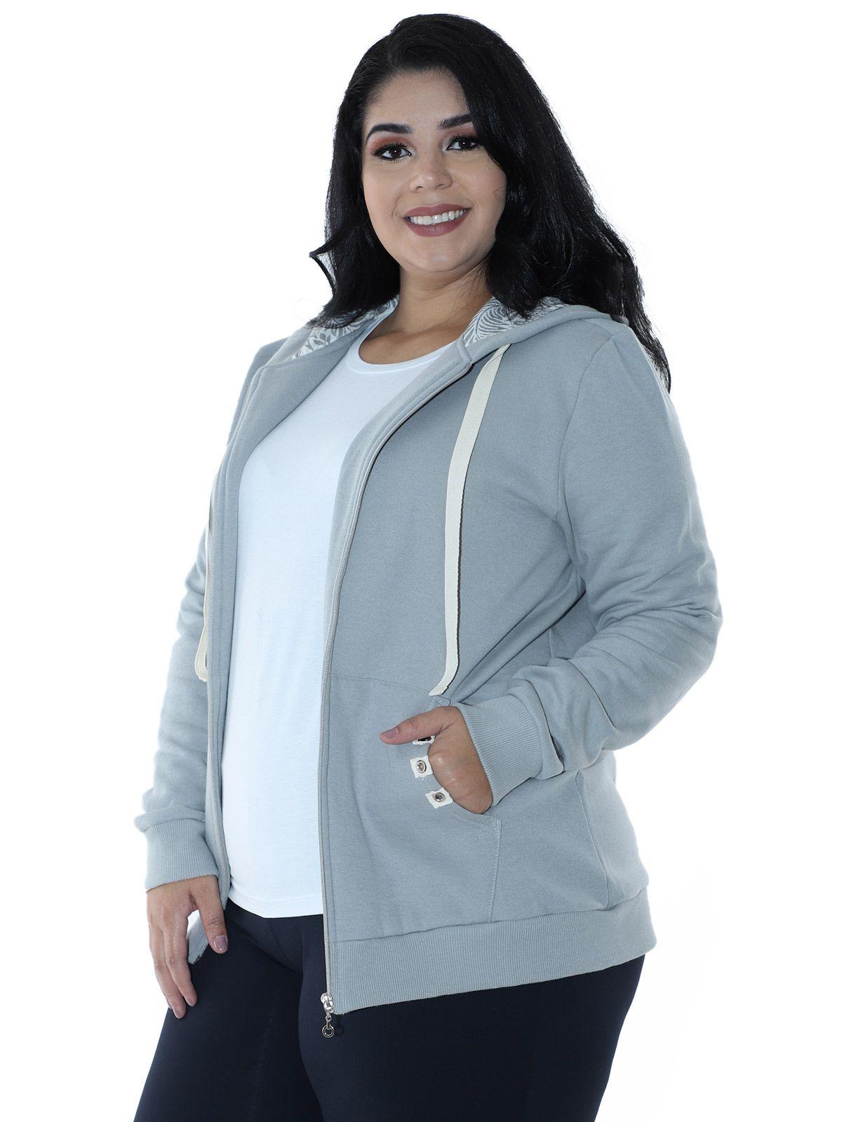 Casaco Plus Size de Moletom Forro do Capuz Estampado Cinza