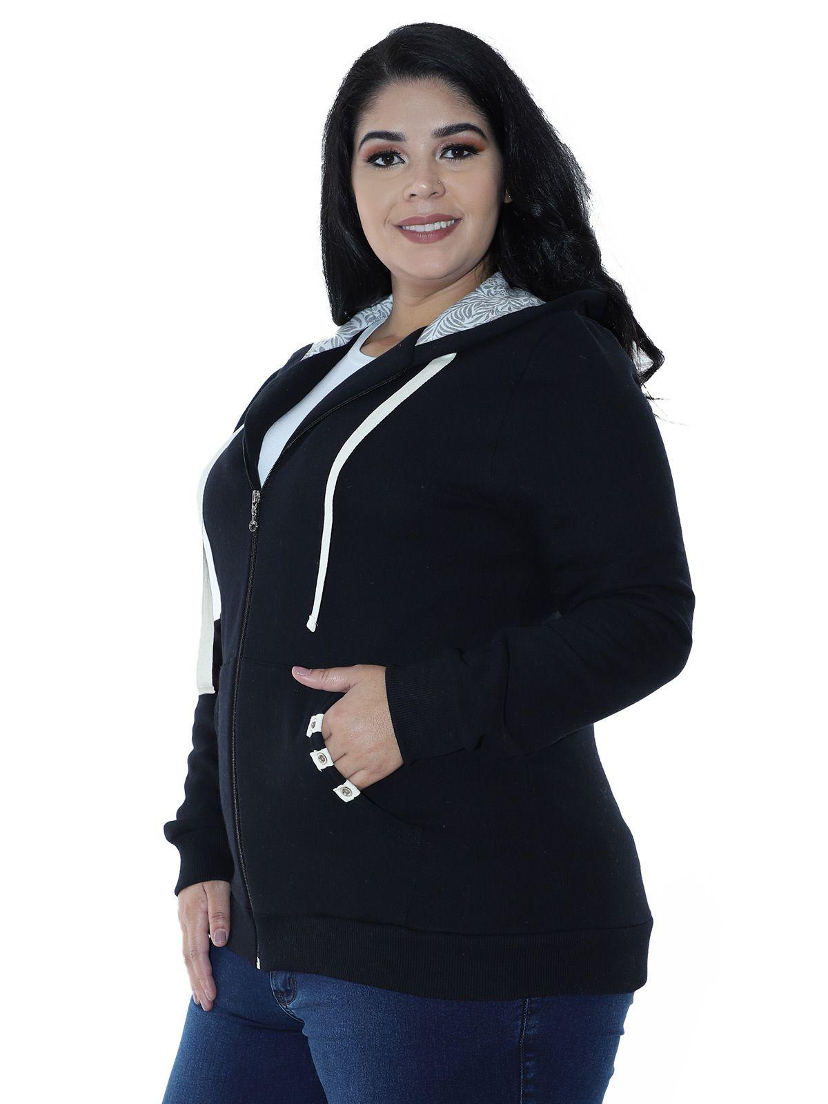 Casaco Plus Size de Moletom Forro do Capuz Estampado Preta