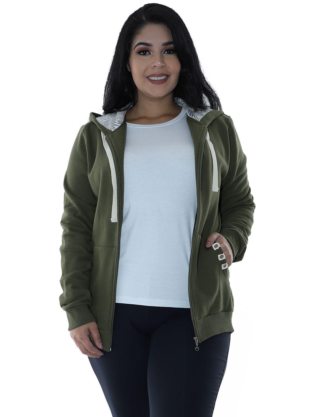 Casaco Plus Size de Moletom Forro do Capuz Estampado Verde Militar