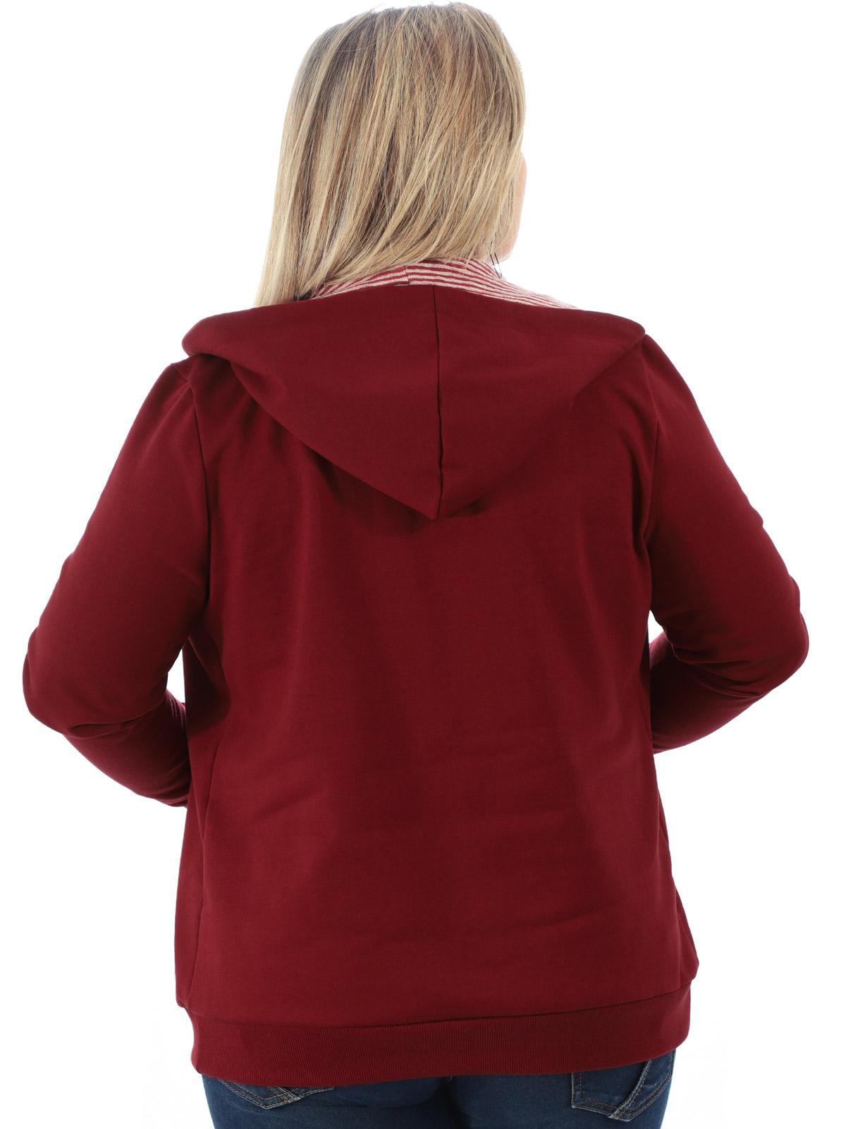 Casaco Plus Size de Moletom Forro do Capuz Listrado Bordo