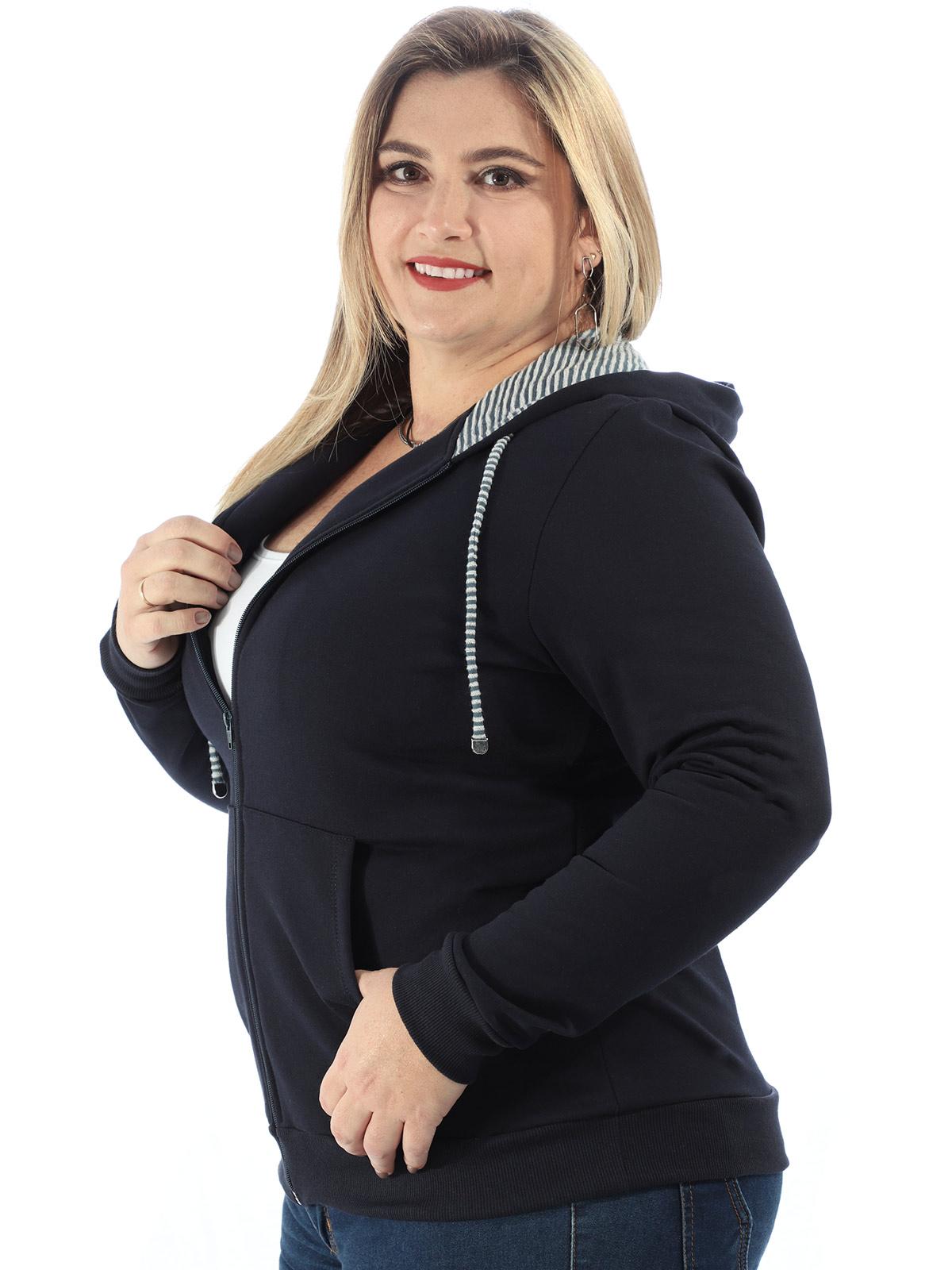Casaco Plus Size de Moletom Forro do Capuz Listrado Marinho