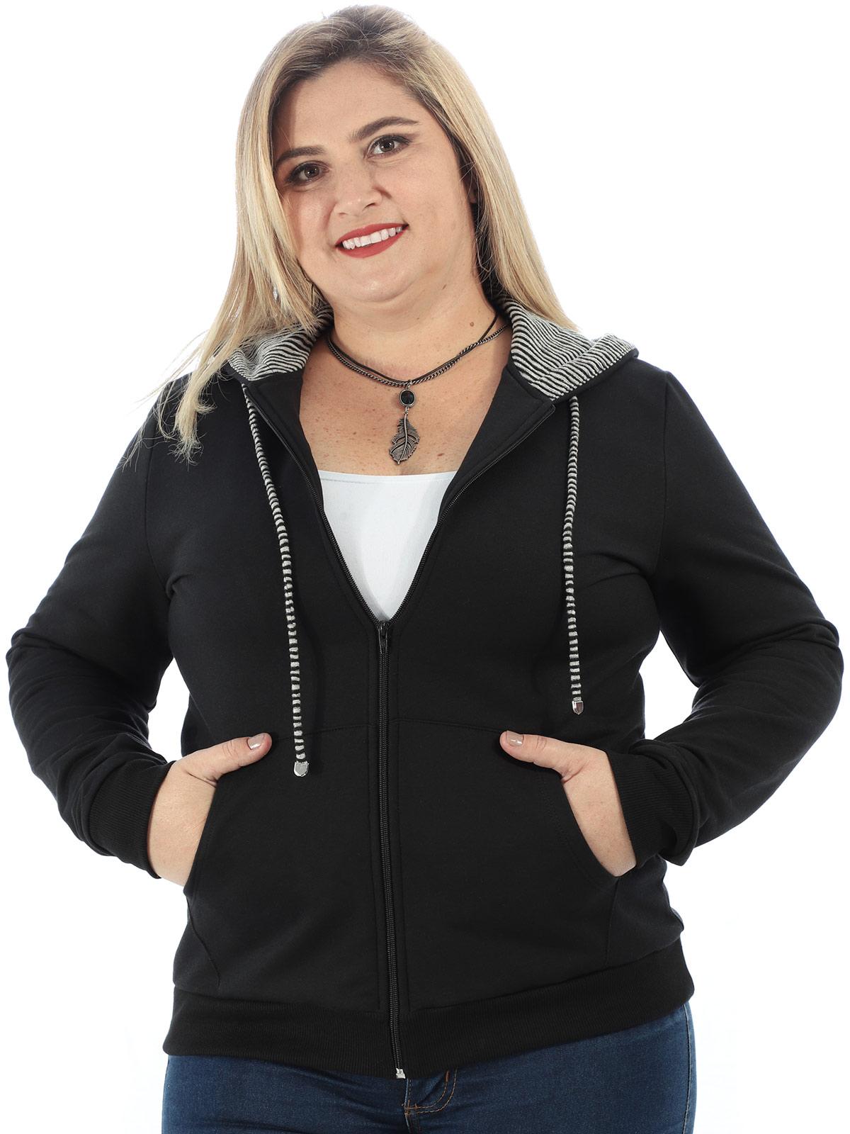 Casaco Plus Size de Moletom Forro do Capuz Listrado Preto