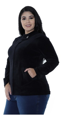 Casaco Plus Size De Plush Feminino Gola Diferenciada Preto