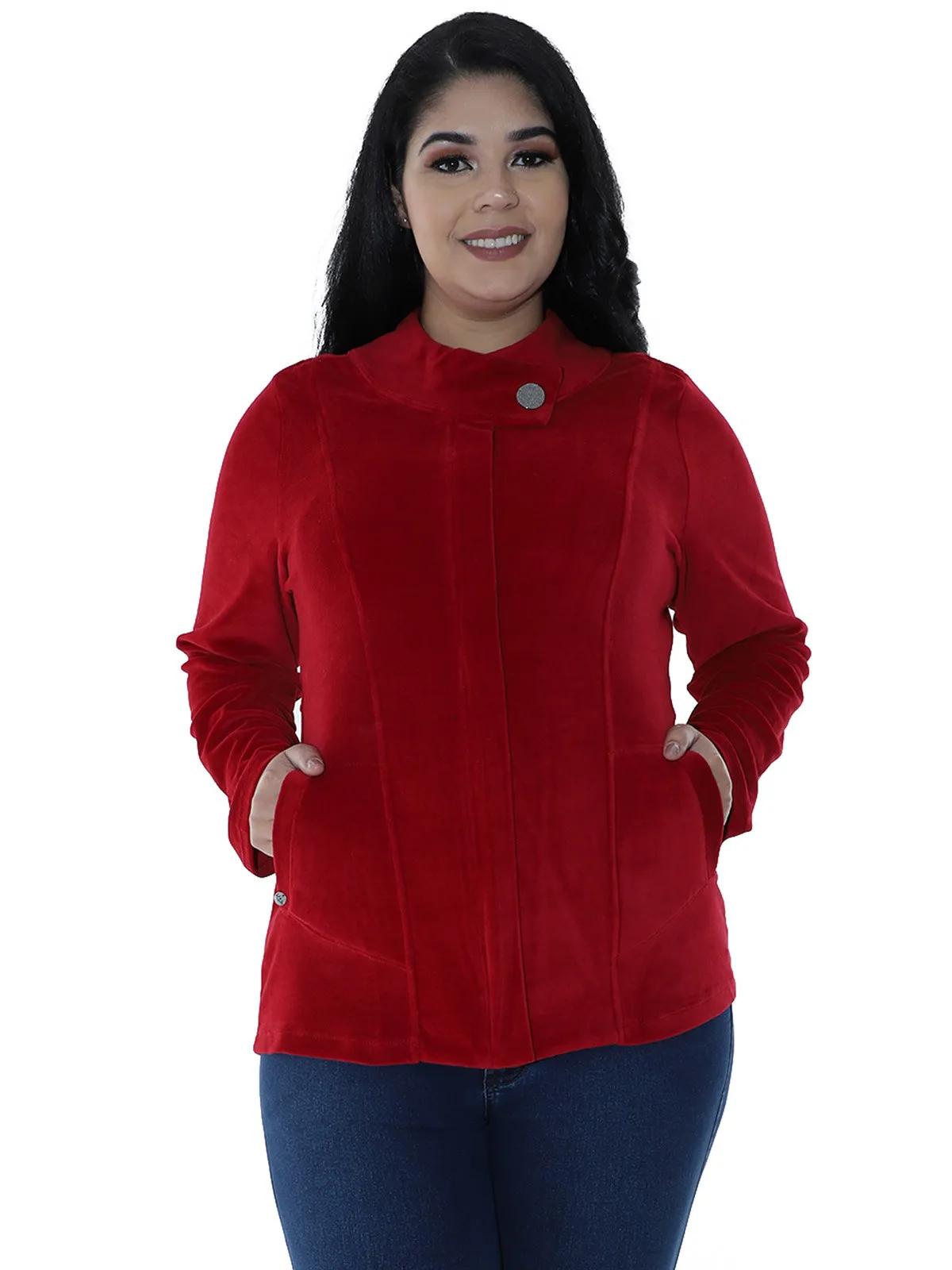 Casaco Plus Size De Plush Feminino Gola Diferenciada Vermelho