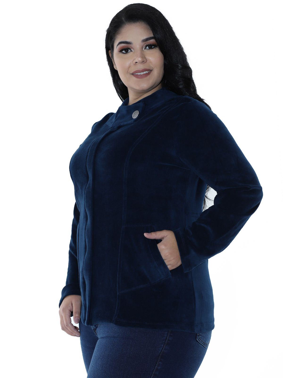 Casaco Plus Size de Plush Gola Diferenciada Azul Marinho