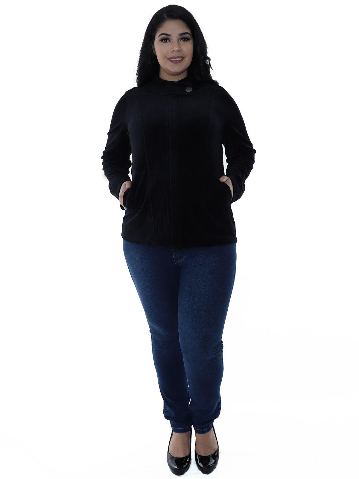 Casaco Plus Size de Plush Gola Diferenciada Preto