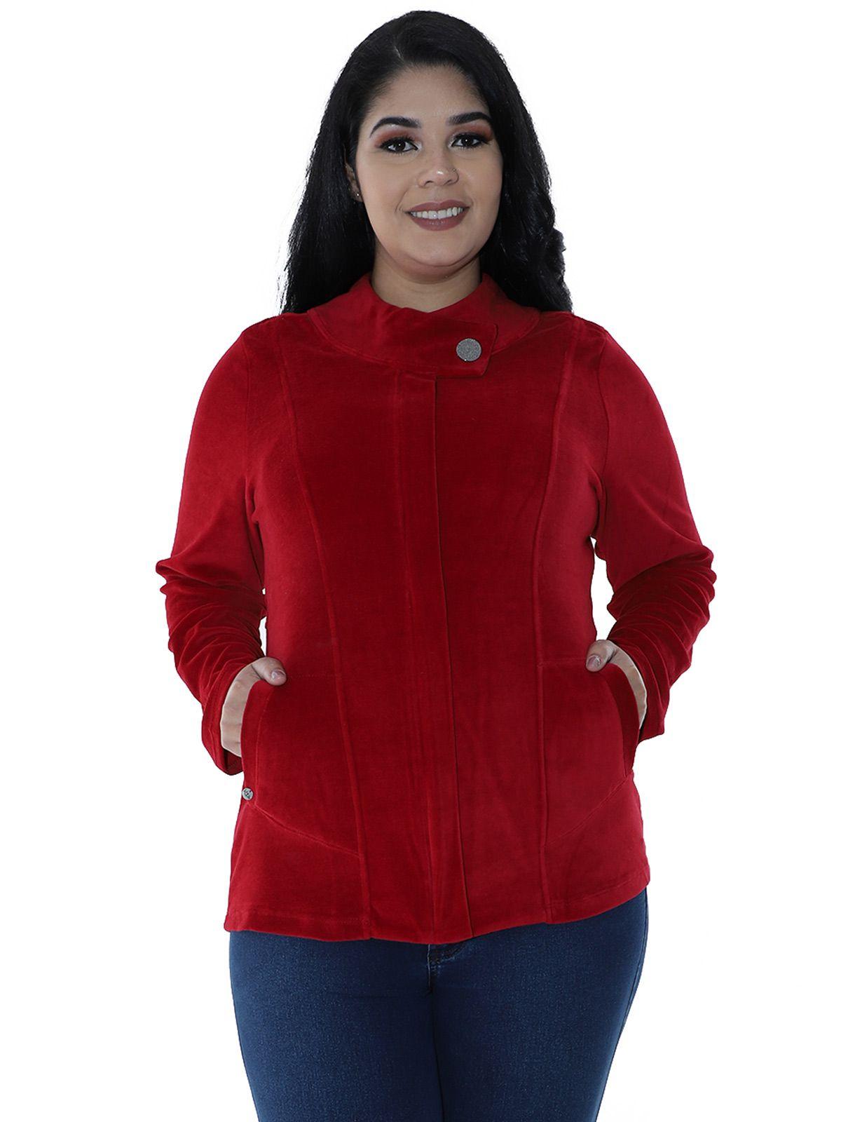 Casaco Plus Size de Plush Gola Diferenciada Vermelho