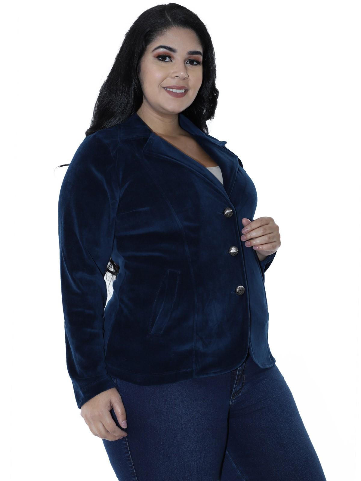 Casaco Plus Size Feminino de Plush Azul Marinho