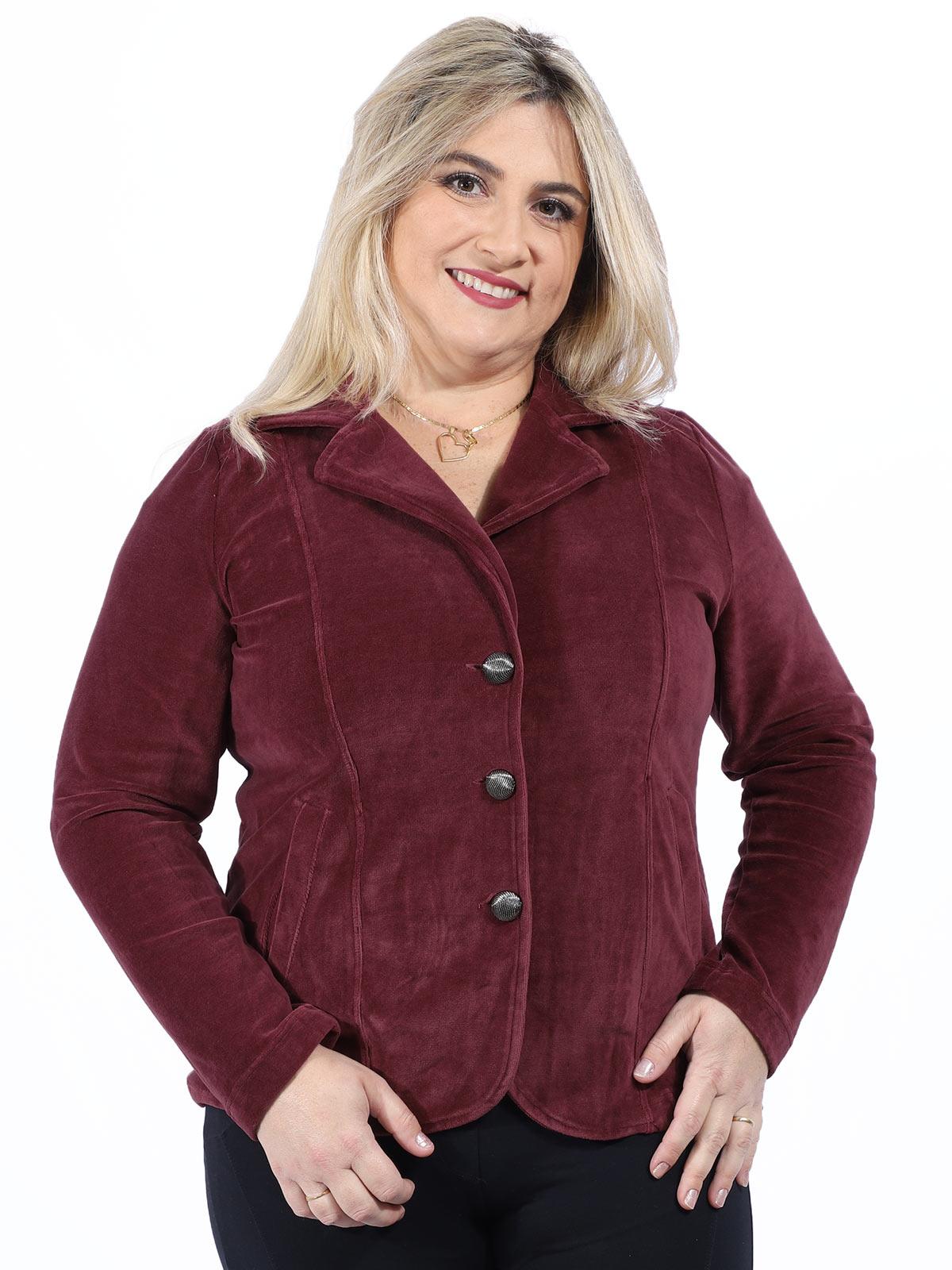 Casaco Plus Size Feminino de Plush Bordo
