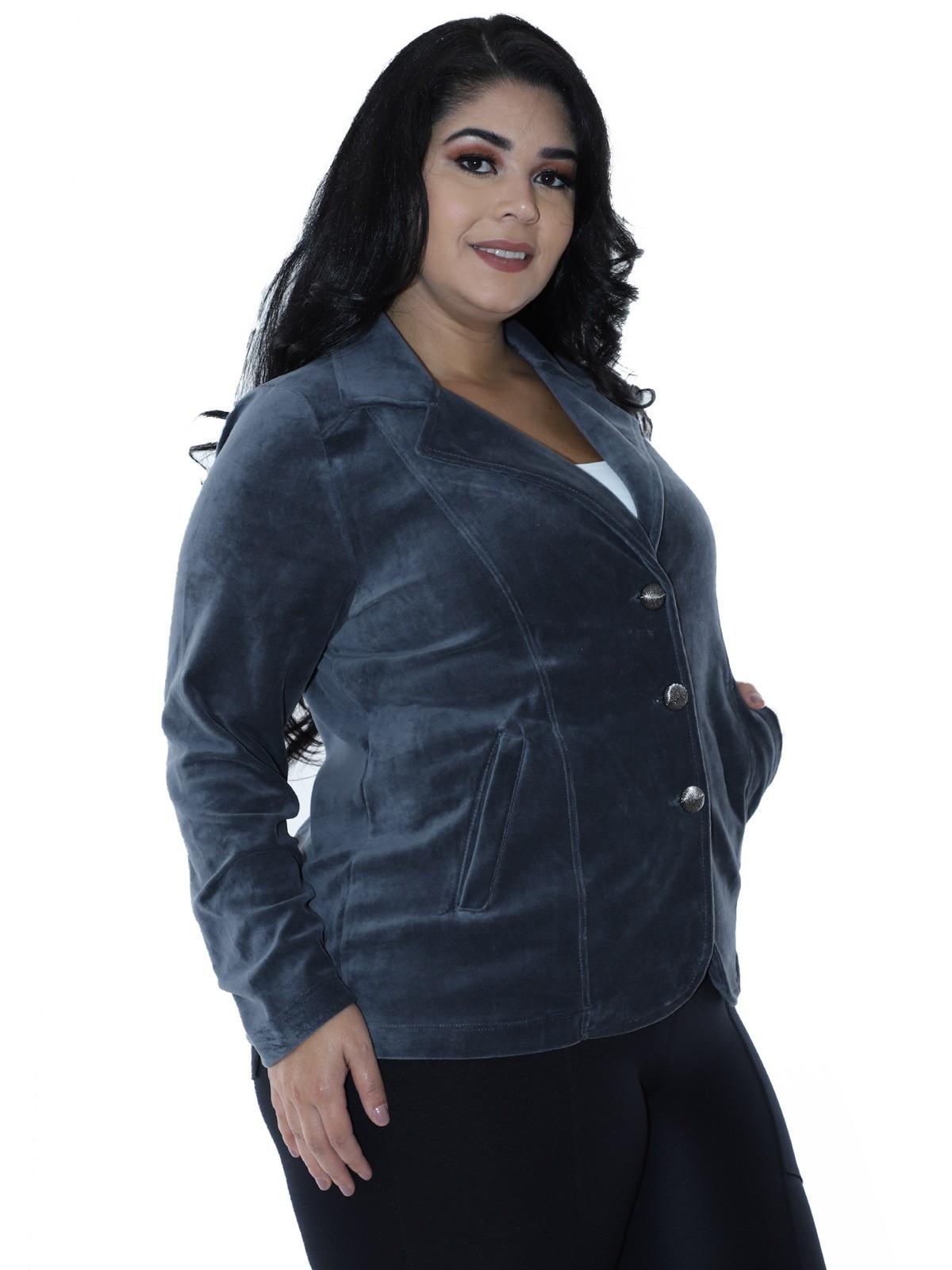 Casaco Plus Size Feminino de Plush Cinza
