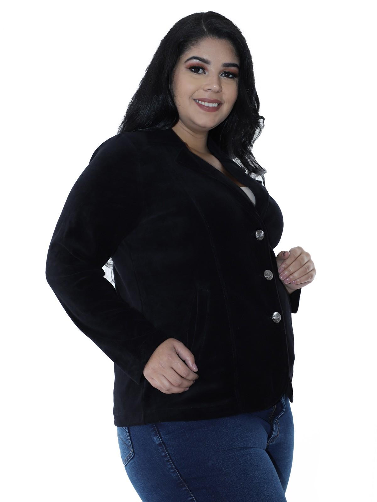 Casaco Plus Size Feminino de Plush Preto