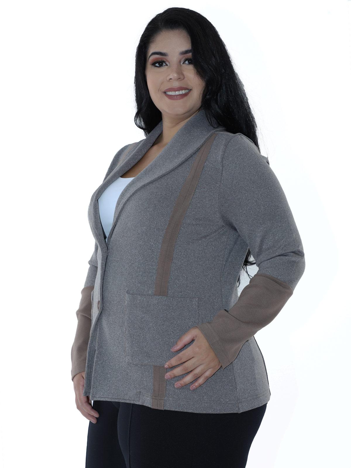 Casaco Plus Size Feminino Neoprene Dupla Face Areia
