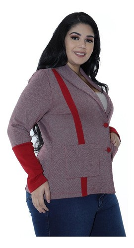Casaco Plus Size Feminino Neoprene Dupla Face Bordo
