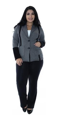 Casaco Plus Size Feminino Neoprene Dupla Face Preto