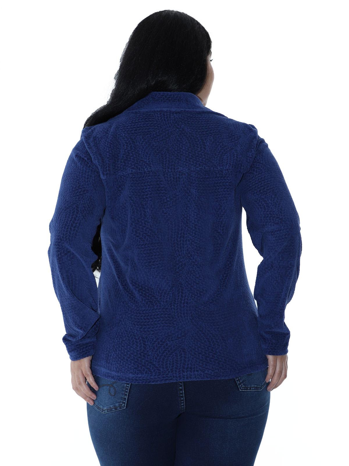 Casaco Plus Size Feminino Plush Com Botão Jacquard Azul Marinho