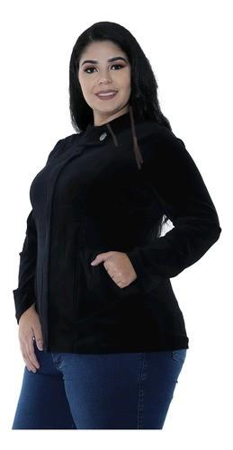 Casaco Plus Size Feminino Plush Com Botão Jacquard Preto